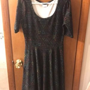 LuLaRoe Amelia black dress w/ geo pattern